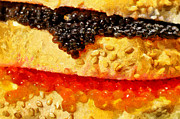 Sandwich Paintings - Caviar sandwich closeup painting by Magomed Magomedagaev