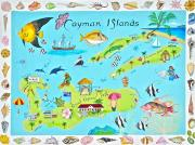 Map Of The World Painting Posters - Cayman Islands Poster by Virginia Ann Hemingson