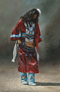 American Indian Portrait Prints - Ceremonial Red Print by Ricardo Chavez-Mendez