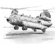 Helicopter Drawings Posters - CH 47 Chinook Helicopter Poster by Jim Hubbard