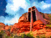 Sedona Art - Chapel of the Holy Cross Sedona Arizona Red Rocks by Amy Cicconi