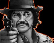 Cowboy Pencil Drawings Prints - Charles Bronson Print by Charles Champin