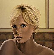African Art Portrait Paintings - Charlize Theron by Paul  Meijering