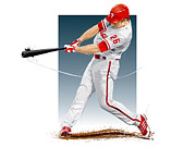 Baseball Digital Art Posters - Chase Utley Poster by Scott Weigner