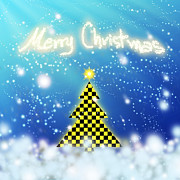 Black And Yellow Metal Prints - Chess Style Christmas Tree Metal Print by Atiketta Sangasaeng