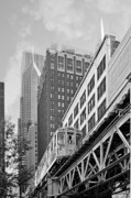 Tall Buildings Prints - Chicago Loop L Print by Christine Till