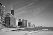 Business Posters Prints Prints - Chicago Skyline and Beach Print by Frank Romeo