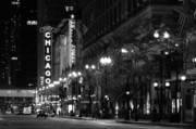 Night Scenes Posters - Chicago Theatre at night Poster by Christine Till