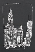 Printed Drawings Posters - Chicago Wrigley And Hancock Buildings Poster by Robert Birkenes
