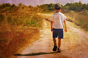 Old Map Photo Originals - Child On The Road by Christophe ROLLAND