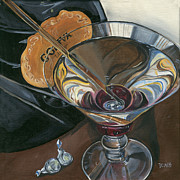 Glass Painting Prints - Chocolate Martini Print by Debbie DeWitt