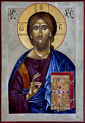 Egg Tempera Prints - Christ Pantocrator Print by Mary jane Miller