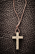 Gold Necklace Photo Posters - Christian Cross on Bible Poster by Elena Elisseeva