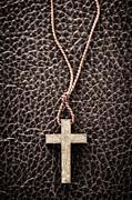 Christian Cross On Bible Print by Elena Elisseeva