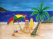 Sandman Christmas Card Prints - Christmas In Kona Print by Pamela Allegretto