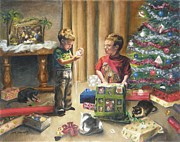Child Paintings - Christmas Time by Lori Brackett