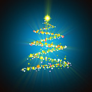Blue Digital Art Originals - Christmas Tree by Atiketta Sangasaeng
