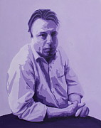 Atheist Paintings - Christopher Hitchens in purple by Mary VanDenBerg