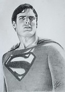 Kent Drawings Framed Prints - Christopher Reeves as Superman  Framed Print by Caleb Goodman