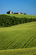 Tuscan Hills Photos - Church in the Field by Brian Jannsen