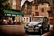 2cv Digital Art - Citroen 2CV in French Village / Meyssac by Barry O Carroll