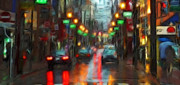 Rainy Street Painting Framed Prints - City Lights Framed Print by Stefan Kuhn