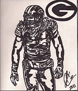 Clay Drawings Metal Prints - Clay Matthews Metal Print by Jeremiah Colley