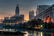 Veterans Posters - Cleveland Skyline at Dawn Poster by At Lands End Photography
