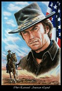 Movie Stars Painting Prints - Clint Eastwood American Legend Print by Andrew Read