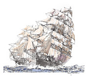 Sonny Perschbacher - Clipper Ship - watercolor