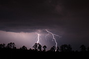 Lightning Storms Metal Prints - 2 Close Metal Print by Reid Callaway