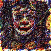Balloons Mixed Media Originals - Clown with Balloons by Rachel Scott