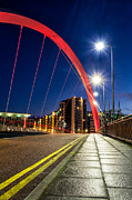 Trails Photo Posters - Clyde Arc Squinty Bridge Poster by John Farnan