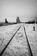 Cn Canadian National Railway Tracks And Grain Silos Kamsack Saskatchewan Canada Print by Joe Fox