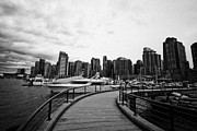 Overcast Day Posters - coal harbour marina and high rise apartment condo blocks in the west end Vancouver BC Canada Poster by Joe Fox