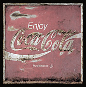 Weathered Coca Cola Sign Framed Prints - Coca Cola Pink Grunge Sign Framed Print by John Stephens