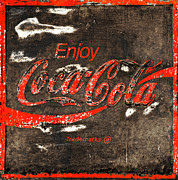 Closeup Coke Sign Prints - Coca Cola Sign Print by John Stephens