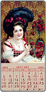 Coca-cola Prints - Coca - Cola Vintage Calendar Print by Sanely Great