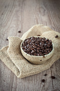 Wooden Bowl Photos - Coffee beans by Sabino Parente