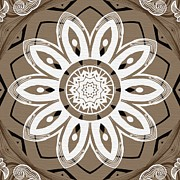 Rosette Posters - Coffee Flowers 8 Olive Ornate Medallion Poster by Angelina Vick