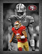 Offense Framed Prints - Colin Kaepernick 49ers Framed Print by Joe Hamilton