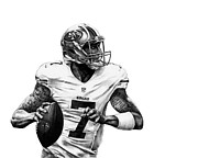 Helmet  Drawings Prints - Colin Kaepernick Print by Ryan Jones