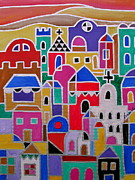 Mexicano Painting Posters - Colorful Town Of Guanajuato Mexico Poster by Pristine Cartera Turkus