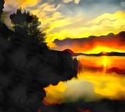 Filter Paintings - Colors at the lake by Odon Czintos