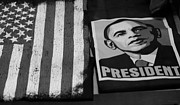 Barack Obama Prints - COMMERCIALIZATION OF THE PRESIDENT OF THE UNITED STATES OF AMERICA in BLACK AND WHITE  Print by Rob Hans