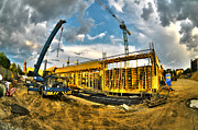 Metal Structure Digital Art Prints - Construction site Print by Jaroslaw Grudzinski