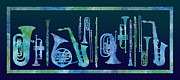Trombone Posters - Cool Blue Band Poster by Jenny Armitage