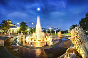 Chattanooga Posters - Coolidge Park Fountains At Night Poster by Steven Llorca