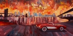 New York City Paintings - Corvette and Manhattan with two bridges  by M Bleichner