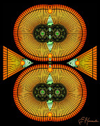 Symmetrical Digital Art Prints - Cosmic Mitosis Print by Ellen Henneke